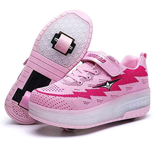 Unisex Led Luz Automática de Skate Zapatillas con Ruedas Zapatos Patines Deportes Zapatos USB Carga, para Niños Niñas (Color : Pink, Size : 28 EU)