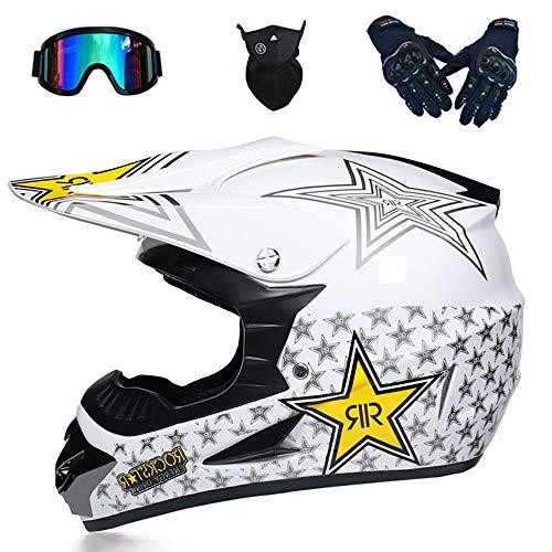 Cascos Motocross Casco Motocicleta Modular Motocicleta para Adultos ATV Casco Todoterreno Carreras De Montaña Dot ECE Certificado Motocicleta Unisex Casco Anticolisión (52~59 Cm)