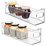 mDesign Slim Stackable Plastic Storage Organization Bin with Handles for Kitchen Cabinet, Pantry, Shelf, Refrigerator, Home Organizer for Fruit, Potatoes, Onions, Drinks, Snacks, Pasta, 2 Pack, Clear