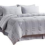 Bedsure King Comforter Set 8 Piece Bed in A Bag Stripes Seersucker Ultra-Soft Lightweight Down Alternative Grey Bedding Set 102x90 inch