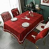 Mantel Rectangular Impermeable de decoración navideña, Mantel de Mesa de Centro Rojo, Adecuado para Fiestas navideñas, cenas M-4 140x200cm