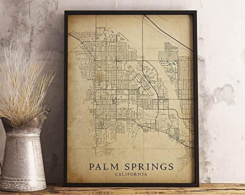 MG global - Mapa de estilo vintage de Palm Springs Ca,...