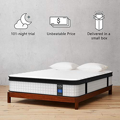 Inofia Full Mattress, 12 Inch Hybrid Innerspring Double Mattress in a Box, Cool Bed with Breathable Soft Knitted...