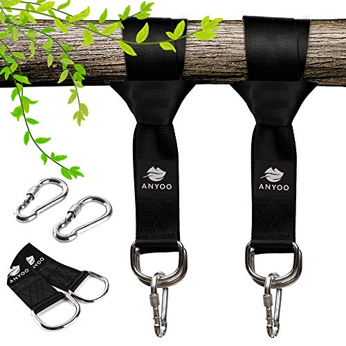 Anyoo Tree Swing Straps Hanging Kit,Durable Straps,Heavy Duty Steel Carabiners,Easy and Fast,Good for Swings and Hammocks