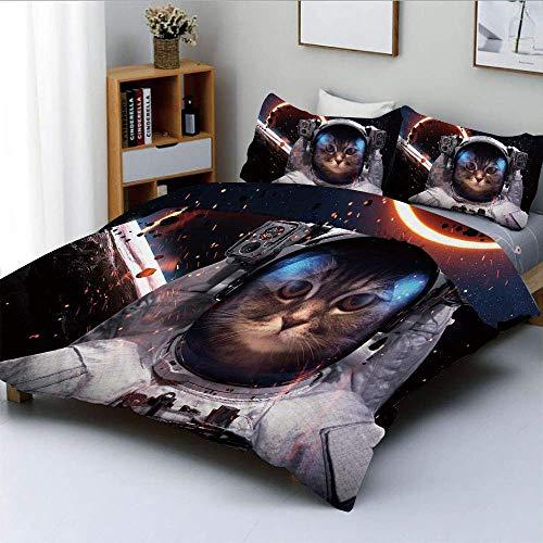 Totun Bettbezug-Set, Kosmonaut in Kometen-Galaxienhaufen im Weltraum Cosmos Art PrintDecorative 3-teiliges Bettwäscheset mit 2 Kissenbezügen, Dunkelblau, Weiß und Schwarz, Kinder Pflegel