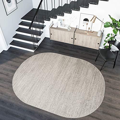 tappeto salotto ovale TAPISO Sari Tappeto Ovale Salotto Moderno Soggiorno Corridoio Stanza da Letto Chiaro Grigio A Pelo Corto 160 x 220 cm