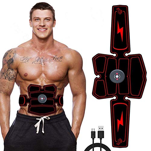 AJH USB Men and Women Electric Muscle Stimulation Ems Abdominal Muscle Trainer, Portable Rechargeable Fat Burning Abdomen/arm/leg Fitness Training Equipment