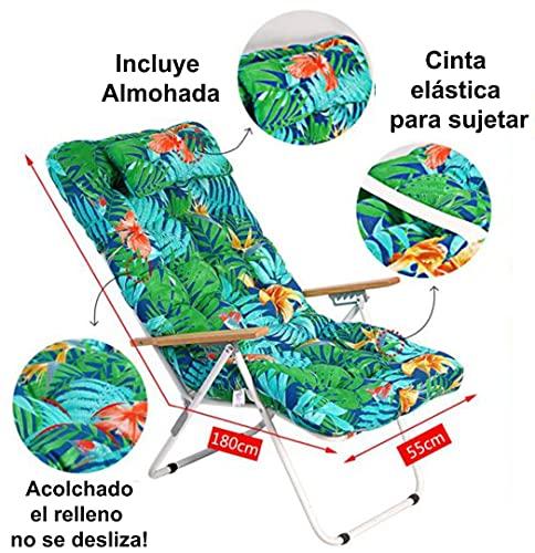 1 COJIN Tumbona Acolchada. COJIN Silla de Playa con Respaldo