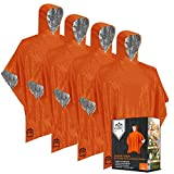 Emergency Blankets and Mylar Rain Poncho (4 Pack) Survival Gear and Equipment – Tough, Waterproof Camping Outdoor Blanket – Retains 90% Body Heat + Reflective Side for Increased Visibility (Orange)