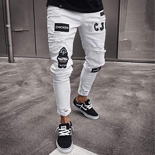 Jeans Männer Coole Schwarze Jeans Skinny Ripped Destroyed Stretch Slim Fit Hop Hop Hose Mit Löchern Für Männer Slim Hip-Hop Reißverschluss Jeans XXL Weiß