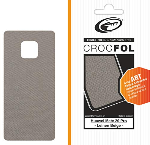 Crocfol Art - Protector de Pantalla para Huawei Mate 20 Pro, diseño de Lino, Color Beige