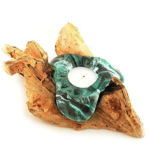 Natur Teelichthalter Glas und Holz, Wurzel mit Glas für ein Teelicht, Holzwurzel aus Teakholz