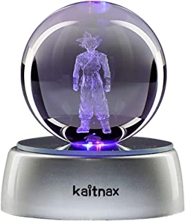 kaitnax 3D Laser Etched Crystal Ball(50mm) Puzzle with LED Base (Son Goku)