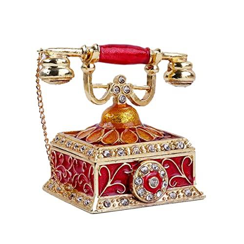 Teléfono Caja de talismán pintado a mano CRISTAL Decorativo con bisagras con bisagra Caja de almacenamiento Caballería de almacenamiento Collectible, Teléfono vintage En forma de joyería de joyería
