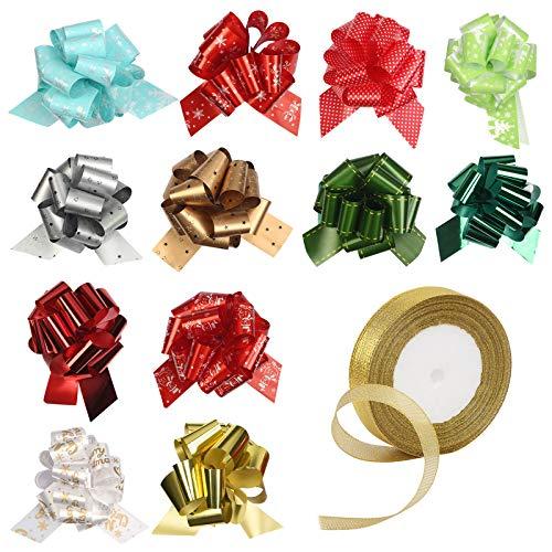 CINMOK 12 Piezas Navidad Moños de Regalos y Árbol de Navidad 1pcs Cinta Manualidades Decorativas de Envoltura Lazos Navideños para Envolver Regalos.