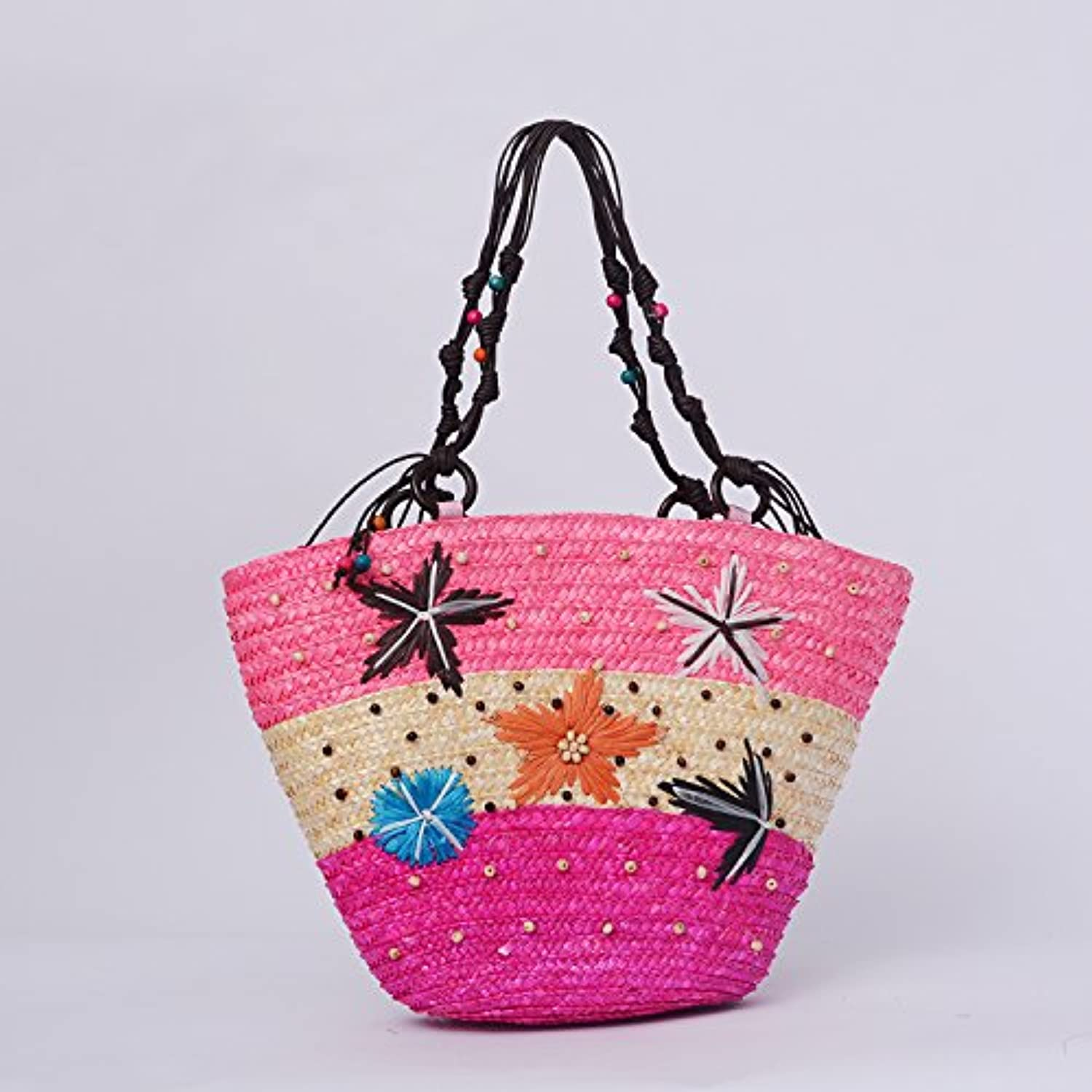 GTVERNHVacation Straw Woven Bag Bohemia Beach Bag Handmade Woven Straw Grass Single Shoulder Women's Bag.
