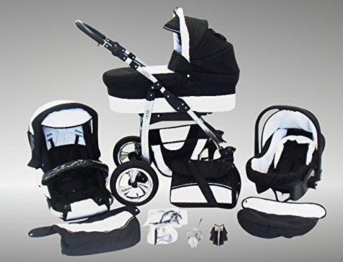 Chilly Kids Dino Kinderwagen Sommer-Set (Sonnenschirm, Autositz & Adapter, Regenschutz, Moskitonetz, Getränkehalter, Schwenkräder) 01 Schwarz & Weiß