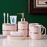 KPTKP Juego de Accesorios de cerámica, Juego de baño, Elegante dispensador de jabón para baño, Soporte para Cepillo de Dientes, jabonera, Lavabo, Uso en hoteles-Pink  5-Piece Set