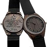 WWbaofu Relojes de Madera Grabados Personalizados para Hombres Correa de Cuero Negro Ligero Reloj Regalos Personalizados para el Hijo Padre Marido Novio Aniversario Regalos para Hombres