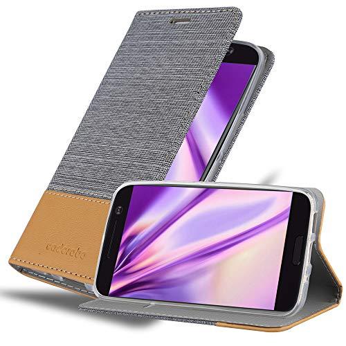Cadorabo Hülle für HTC 10 (One M10) in HELL GRAU BRAUN - Handyhülle mit Magnetverschluss, Standfunktion & Kartenfach - Hülle Cover Schutzhülle Etui Tasche Book Klapp Style