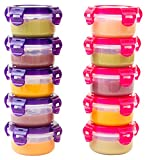 Elacra Baby Food Storage Freezer Containers [10-Pack, 3.4 oz] BPA-Free Airtight Small Containers with Lids, Airtight, Pink and Purple