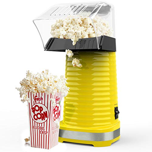 Popcorn Maker, 1200W Fast Hot Air Popcorn Popper with Measuring Cup, Easy To Clean, Oil-Free, Great for Family Parties, Yellow