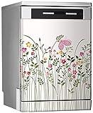 MEGADECOR Vinilo Decorativo para Lavavajillas, Medidas Estandar 67 cm x 76 cm, Borde Floral con Rosas y Mariposas