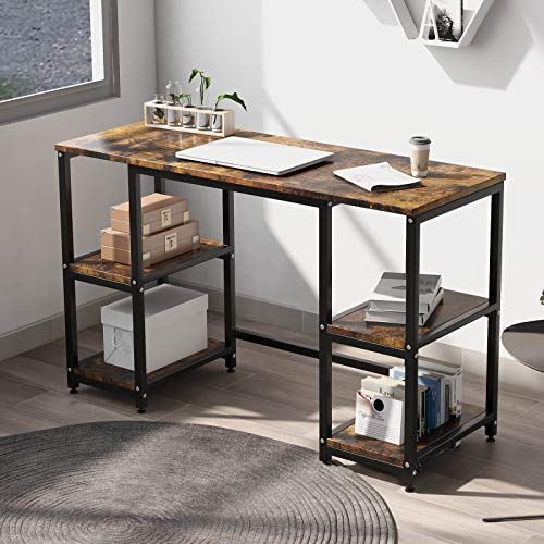Computer Desk with 4 Tiers Shelves -47.2 inch Writing Study Desk with Bookshelf Modern Home Office Desk Stable Corner Desk for Small Space Steel Frame & Wood Desk (Rustic Brown)