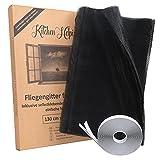 Kitchen Helpis® Fliegengitter für Fenster in 130 cm x 150 cm inkl. Selbstklebendem Klettband zur Befestigung, Insektenschutz individuell zuschneidbar, Mückenschutz, Moskitonetz, Fliegenschutz