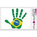 pinkelephant Aufkleber - Brasilien - Hand - Handabdruck - Fahne - 21 cm x 20 cm - Laptop Sticker skin flag
