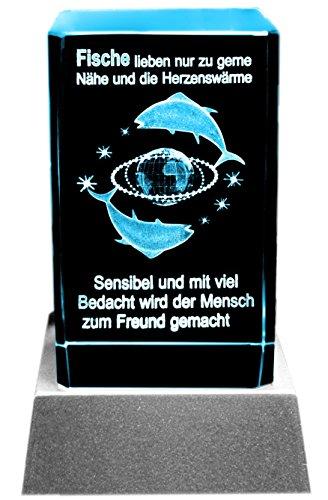Kaltner Präsente Sfeerlicht LED kaars/kristal glazen blok / 3D-lasergravure sterrenbeeld vissen