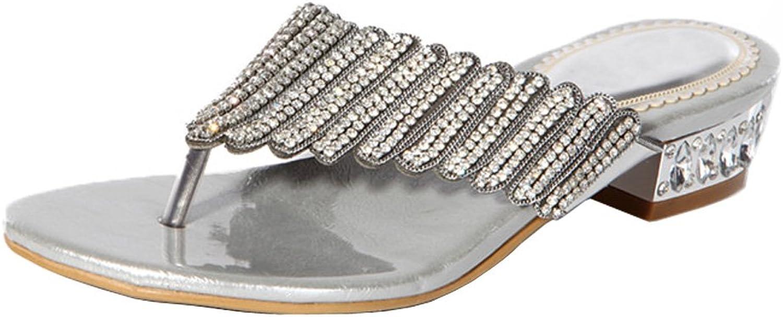 Honeystore Women's Layered Rhinestone Sheepskin Flat Heel Sandals