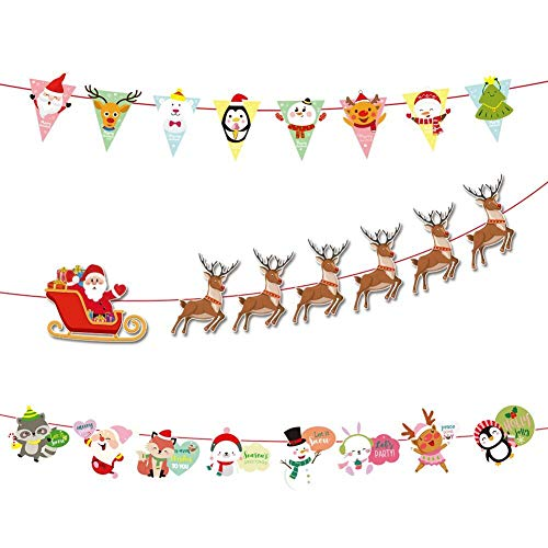 3PCS 2020 Bandiere Natalizie, Striscioni Con Slitta Di Babbo Natale Per Decorazioni Per feste, Bacheche Appese Per Decorazioni Per Interni ed Esterni, Gagliardetti di Cartoni Animati,Colori Colorati