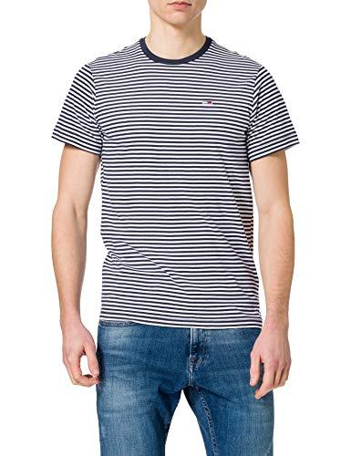 Tommy Jeans TJM Tommy Classics Stripe tee Camiseta, Crepúsculo azul marino/blanco, XL para Hombre