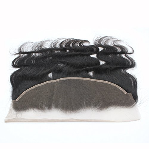 Forawme Remy Brazilian Human Hair Full Lace Frontals With Baby Hair 18 Inch 130% 1B Body Wave Pre Plucked 13X4 Ear to Ear Lace Frontal Closure Hair Pieces With Natural Hairline