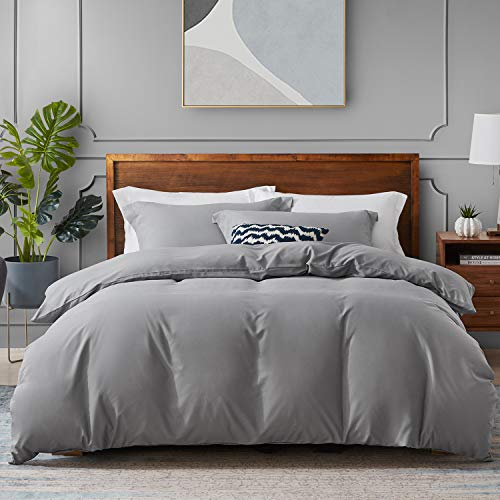 Hansleep Bedding Duvet Cover Sets King Size 230 x 220cm - 3PCS Grey Ultra Soft Brushed Microfibre Hypoallergenic Bedding Quilt Covers with 2 Pillowcases