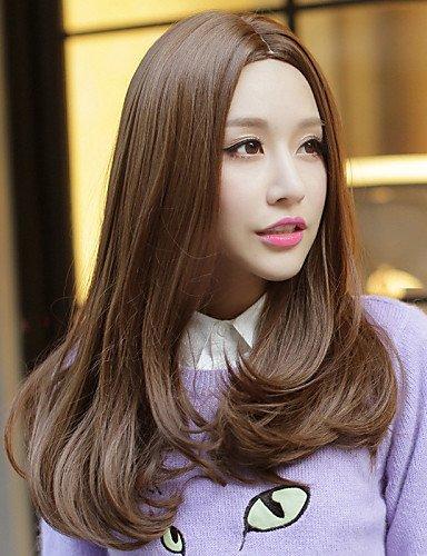 Perruques cheveux européens le Japon et Corée du Sud Fashion Girl nécessaire Marron lockige perruque