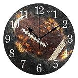 WowPrint Horloge Murale Ronde en Acrylique Motif Ballon de Rugby