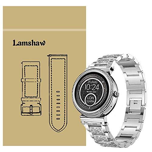 Ceston Diamante de imitación Metalica Acero Moda Correas para Reloj Inteligente Michael Kors Sofie (18mm, Plata)