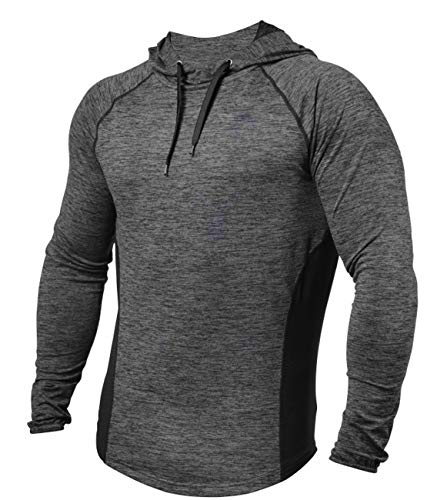 PAIZH Men's Workout Hoodies Dry Fit Outdoor Lightweight Pullover Hooded Tops (S, Deep Grey)