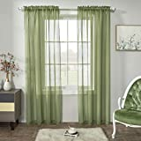 Sage Green Semi Sheer Curtains Faux Linen Sheer Window Curtain Panels Drapes 84 Inch Length with Rod Pocket for Living Room Girls Kids Room Bedroom 2 Panels 52 x 84 Inches Long Sage Green