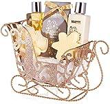 BRUBAKER Cosmetics - 6 pezzi set per la cura - Winter Wonder - Set regalo di bellezza - profumo di vaniglia - con slitta glitterata oro