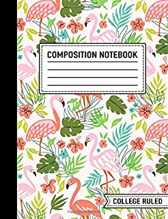 """Composition Notebook: College Ruled: 7.4"""" x 9.7"""" (19cm x 25cm): Flamingo 5371"""