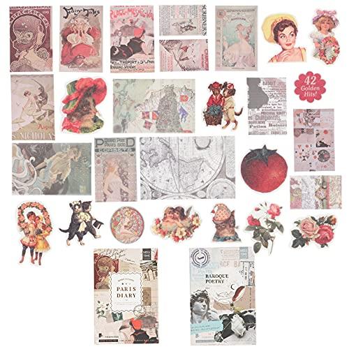 109 hojas de papel de álbum de recortes vintage (diario de París y poesía barroca) adhesivo autoadhesivo para álbumes de recortes Bullet Journaling Junk Journal Planners