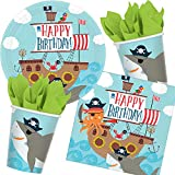 37-teiliges Party-Set * AHOY * für Kindergeburtstag mit Teller + Becher + Servietten + Deko | AHOI Krake Hai Kinderpiraten Pirat Seeräuber Schatzsuche Kinder Geburtstag Mottoparty Motto