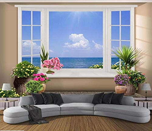 Tapete Fototapete 3d Effekt Fenster Mit Meerblick Vlies Tapeten Wandtapete XXL Moderne Wanddeko Design Wand Dekoration Wohnzimmer Schlafzimme 200cm×140cm