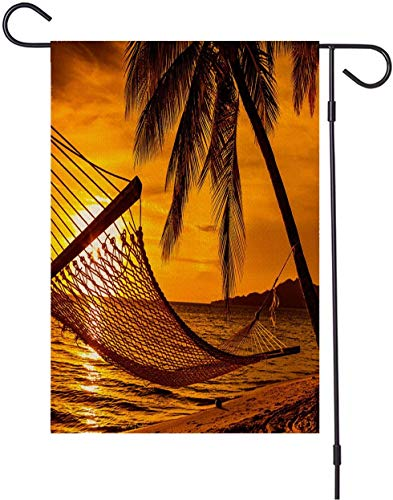 brown78 Trees Garden Yard Flag, Double Sided,Hammock Palm Trees Beach Sunset Yellow Black,Outdoor Decor for Homes and Gardens,28 x 40 Inch