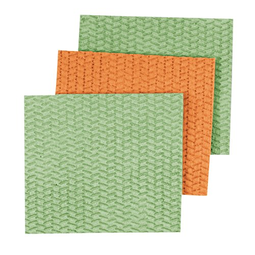 Casabella Cellulose Sponge Cloth, 3-Pack, Lime Green and Orange, assortment