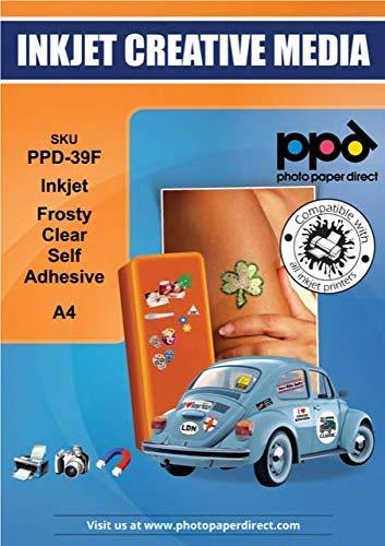 PPD Inkjet - A4 x 20 Pegatinas de Vinilo Autoadhesivo Semi-Transparente Imprimible de Grado Comercial - Calidad Fotográfica y A Prueba de Desgarro - Para Impresora de Inyección de Tinta - PPD-39F-20