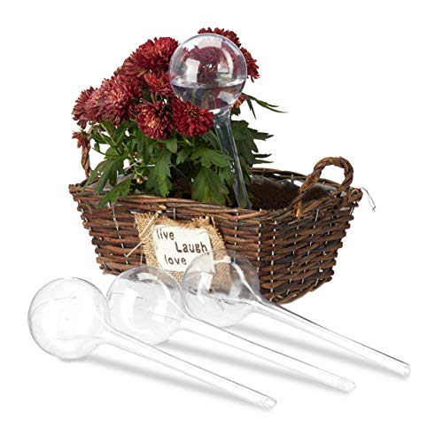 Relaxdays 24 x Bewässerungskugeln, Dosierte Bewässerung, 2 Wochen, Versenkbar, Topfpflanzen, Kunststoff, Durstkugeln, transparent